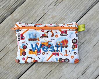 Zippered sandwich bag, Trucks, Construction Birthday, Reusable Sandwich Bag, Snack Bag, Monogrammed Lunch, Large wet bag, washable bag