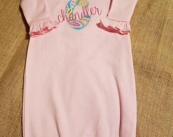 Monogram Newborn Gown, Going Home Outfit, Personalized Newborn Baby Gown, Newborn Layette, Baby Shower Gift, Ruffle Newborn Gown Zipper Gown