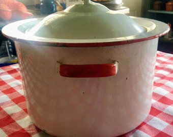 Vintage Enamelware Stock Pot with Lid