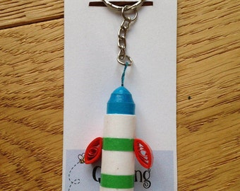 Quilled Rocket Keyring, Rocket Keyring, Keyring, Rocket Keyring, Quilled Keyring, Rocket Keychain, Rocket Bag Charm, Rocket Gift,
