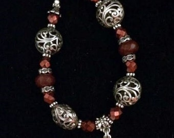 Beaded Gemstone Bracelet-Horseshoe & Heart Charm-Equine
