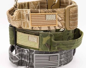 Military Style Dog Collar with Cobra Buckle and Handle