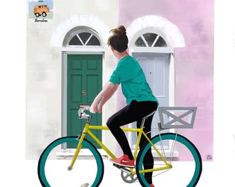 impresion bicicleta, ilustración puerta London, puerta rosa, decoración bicicleta, ilustración digital, arte de paret, descarga directa