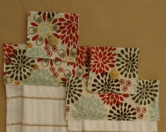 2 Hanging dish towels with vibrant reds, brown, green and blue. Kitchen Gift, Kitchen linens,