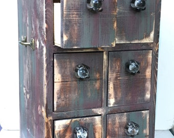 Rustic Wood 6 Drawer Storage Organizer