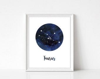 Taurus Constellation, Taurus Print, Taurus Wall Art, Taurus Home Decor, Taurus Wall Decor, Zodiac Print, Taurus Stars, Zodiac Constellation