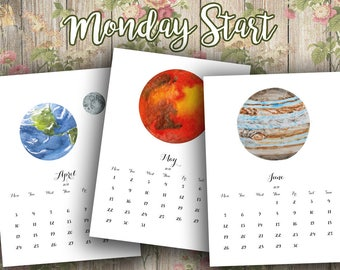 Planet Calendar, Space Calendar, Solar System Calendar, Calendar 2017, Monday Start Calendar, Solar System Print, Space Print, Planets Print