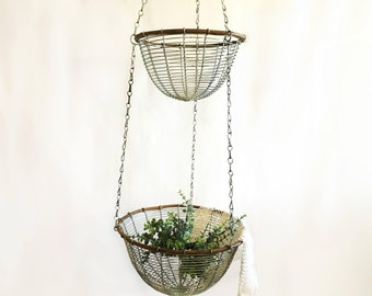 Vintage hanging basket mesh basket antique basket kitchen basket fruit basket farmhouse kitchen farmhouse decor farmhouse wire basket fruit