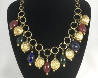 1970's Venetian glass and gold tone textured bead necklace.