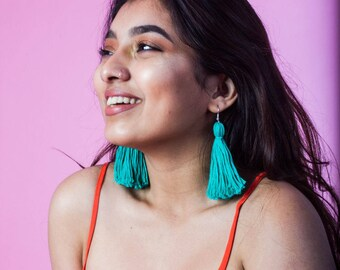 Turquoise Tassel Earrings Handmade Earrings bohemian tassel earrings Statement Earrings Colorful Earrings