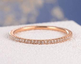 stacking ring rose gold wedding band women diamond thin eternity band simple micro pave dainty minimalist - Wedding Ring Women