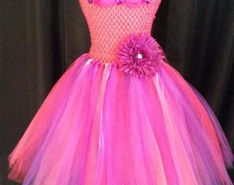 Fuchsia & purple princess tutu dress, bright pink and purple tutu dress for girls, birthday dress, gift for her, princess dress, dress up