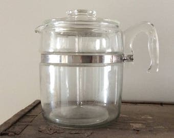 Vintage Pyrex 6-9 Cup Percolator / Complete / Coffee Pot / Coffee Maker / Retro Decor
