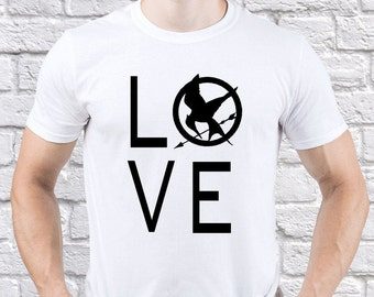 The Hunger Games/ Mockingjay/ Mockingjay Love/ men tshirt/ Hunger Games tshirt/ Mockingjay tshirt/ Camping tshirt/ Mockingjay gift/ (HG05)