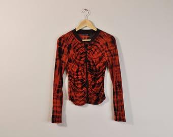 90s Mesh Blouse, Sheer Tye Dye Top, Vintage 90s Blouse, 00s Zip Up Blouse, Sheer Long Sleeve Shirt, Abstract Print Blouse, 90s Print Top