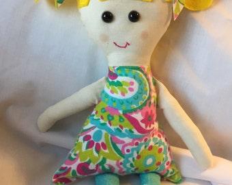 Handmade cloth doll, rag doll, baby doll