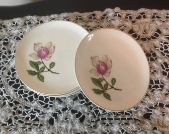Set of 6 Vintage CROOKSVILLE Plates Southern Belle Pink and White Magnolia Gold Trim USA
