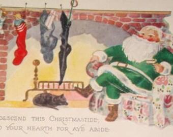 SALEVintage Santa Postcard (Green Santa Suit)