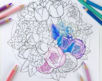 coloring for adults hydrangea tulip rose flower adult coloring page digital coloring hand drawn flowers