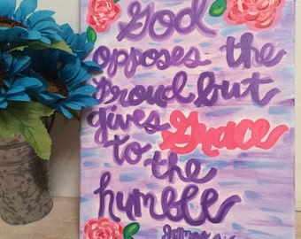 FREE SHIPPING! Hand painted Bible verse canvas 11x14