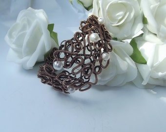 Copper wirewrapped bracelet with white river pearls - handmade