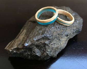 Glow-In-The-Dark Resin Stackable Bentwood Rings