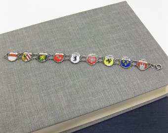 Vintage German 800 REU Souvenir 9 City Shield Bracelet