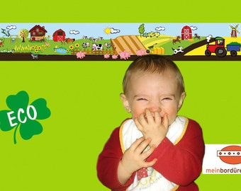 ECO kids trim: farm - borders for children, border for allergy sufferers, wall border, nonwoven, wall trims tractor