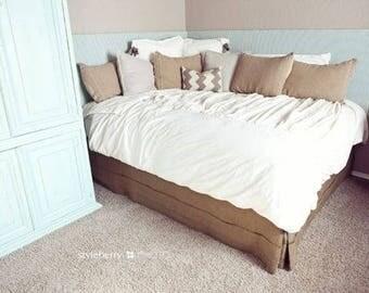 "Pleated burlap bed skirt, Queen size, 60""x80"", rustic bedroom look, natural burlap bedskirt, Choose the drop"