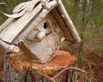 Birdhouse handmade, rustic, covered  in birch bark
