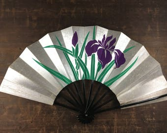 Japanese Iris Vintage Hand Fan,Iris Laevigata Handmade Fan,Japanese Rabbit-Ear Iris Fan,Japanese Paper Handmade Fan,Folding Fan,Sensu