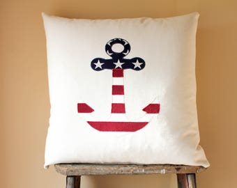 4th of July Decor, Independence Day, Fourth of July, US Flag Anchor Pillows, Anchor Decor, July 4th Pillow, Memorial Day Decor