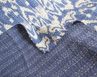 Blue Handmade Kantha Quilt Kantha Stitch Blanket Queen Size Kantha Bedspread Cotton Sari Kantha Bed Cover Ikat Design Kantha Picnic Throw