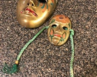 2 Vintage Brass Masks Made in India
