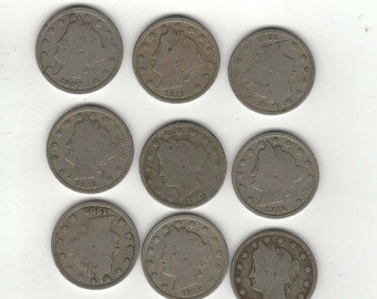 lot of 9 Liberty Nickels full dates All different dates Great mixture jewerly supply, craft, scrapbook, old coins, US money C5