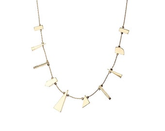 Gold Necklace with Shaped Gold Charms