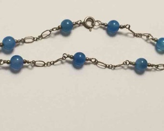Eco friendly handmade sterling silver bracelet with vintage beads