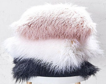 Shaggy faux fur cushion (3 colours available - pink, white, grey)