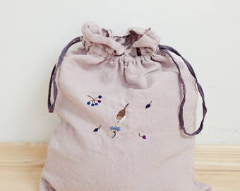 Linen Pouch, Pink Linen Bag, Hand Stitched Embroidery, Made to Order