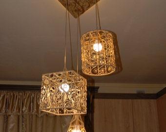 Jute Filigran Chandelier 3 Led Lamps and 1 Led backlight