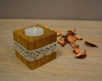 Tea light holder, Candle holder, Wooden candle holder, Tea candle holder, Wood and Lace candle holder, Oak brushed