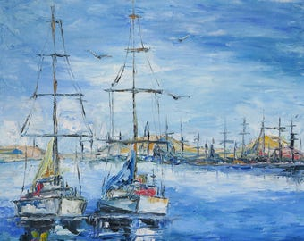 Yachts in the roadstead / Yachts off the coast / In port/oil painting/ palette knife/boat/fine art/