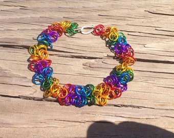 Rainbow Chainmaille Bracelet with S Hook - 7 inches