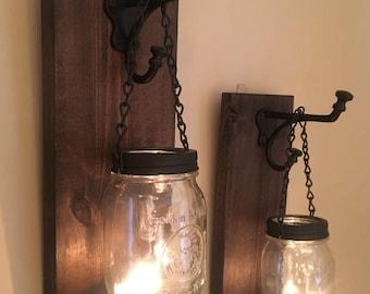 Rustic Mason Jar Wall Sconces / Candle Sconces