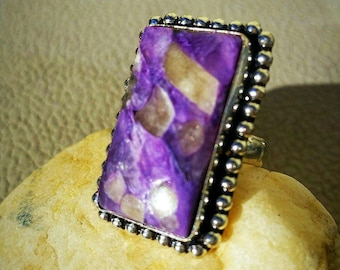 Purple Turquoise Ring Size 7 Sterling Silver