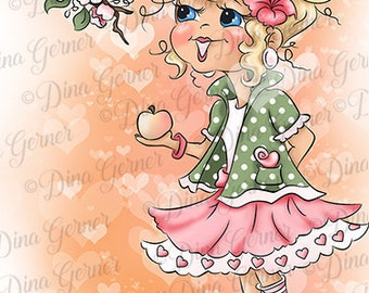 Instant Download Digital Stamp Digi Stamp Apple Curly Girls by Dina Gerner
