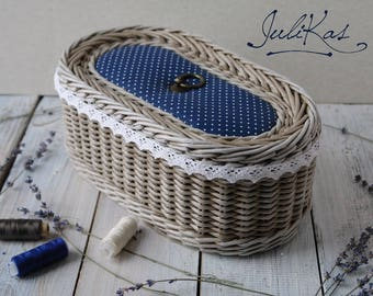 Sewing basket ′In a pea′ - vintage basket - wicker box - wicker sewing basket box