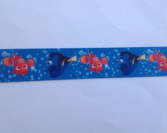 "7/8""  Fish  Finding Dory  inspired Grosgrain Ribbon  -  By The Yard"