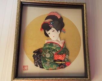 Vintage Japanese Oshie Craft Geisha in Kimono Signed and Framed