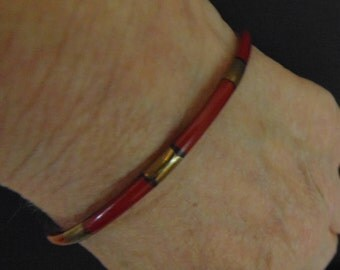 Bracelet, brass, Sard inlay